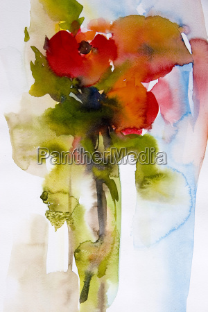 watercolor, poppies - 544254