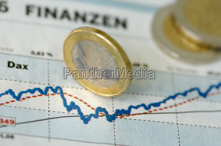 price chart with euro coins