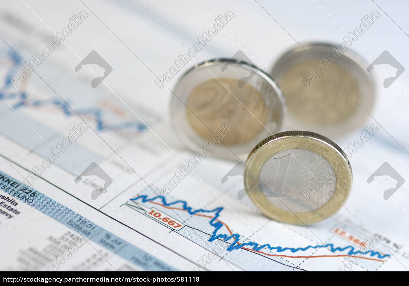 price, chart, with, euro, coins - 581118