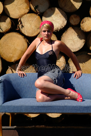 woman on sofa in front of