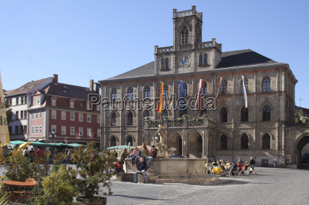 rathaus, weimar, with, fountain - 598056