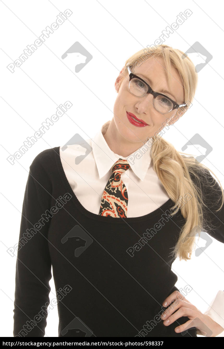 young, blond, woman, wearing, glasses, and - 598337