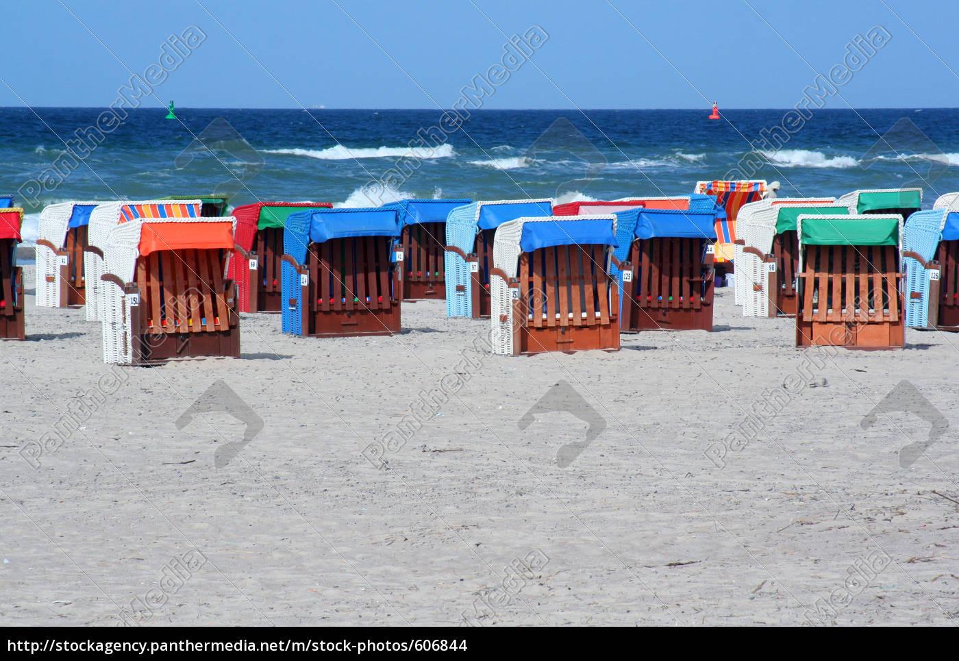 beach, chairs, in, warnemünde - 606844