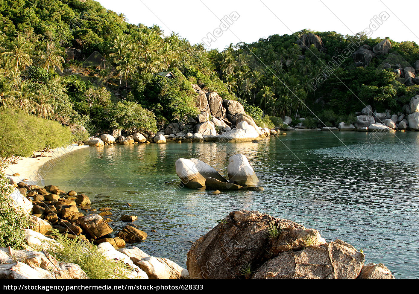 bay, with, rocks, palm, trees, and, sea - 628333