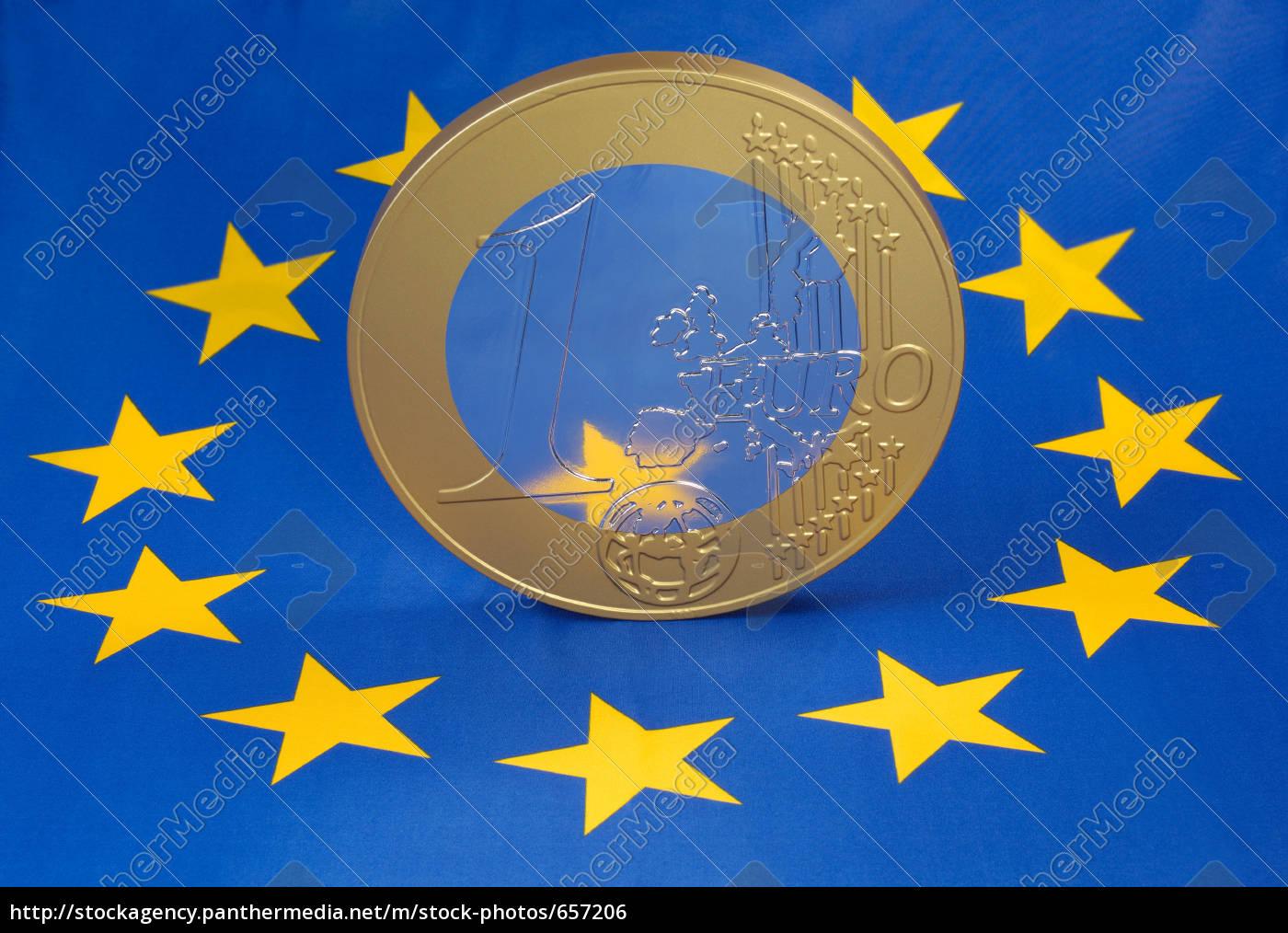 euro, coin, on, the, european, flag - 657206