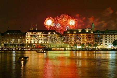 hamburg jungfernstieg with fireworks