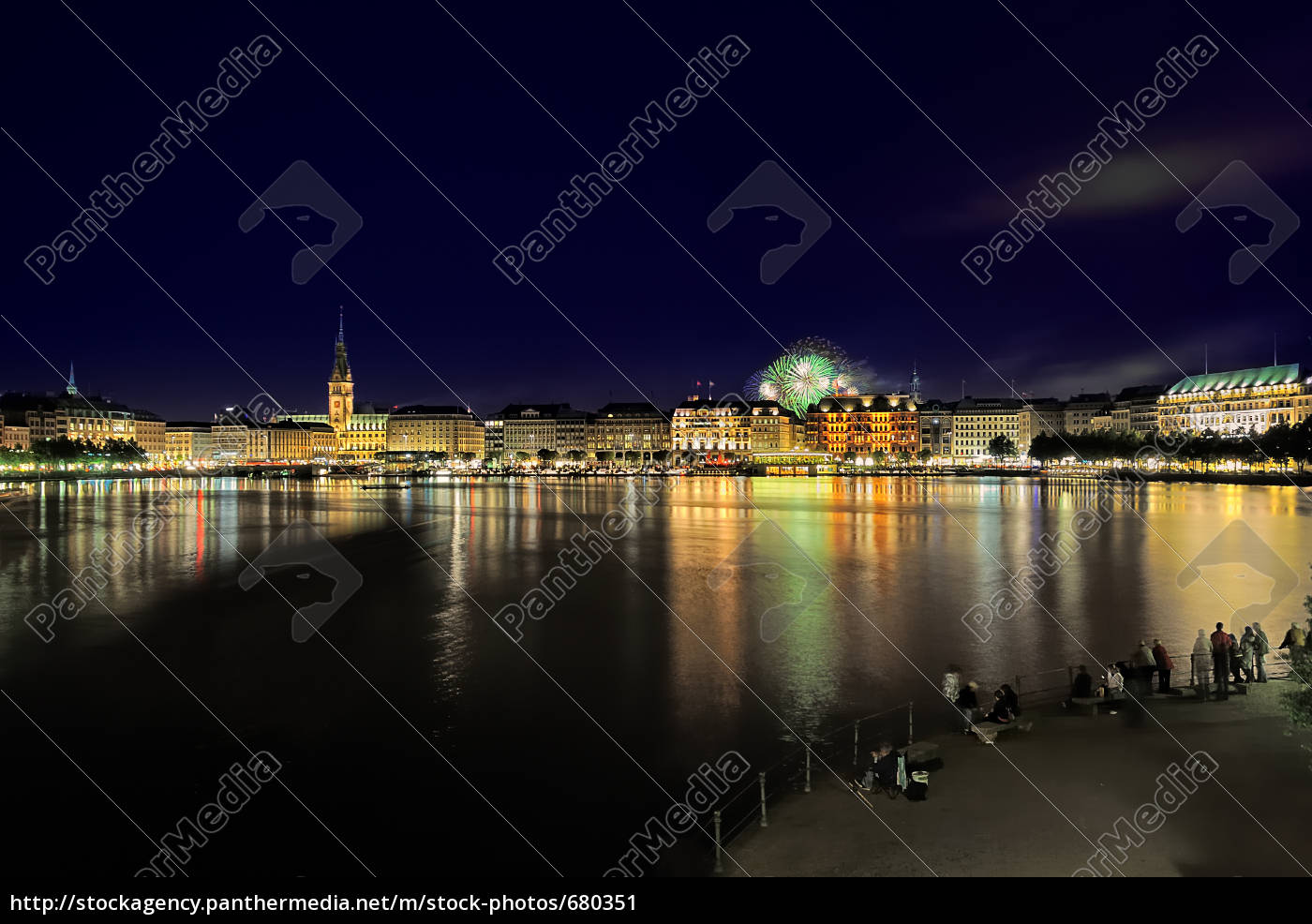 hamburg, jungfernstieg, at, night - 680351