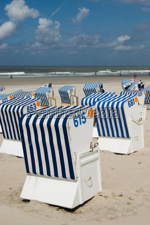 beach, baskets, on, norderney - 739362