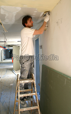 drywall, installers, when, filling, the, ceiling - 743968