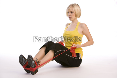 woman training with belt