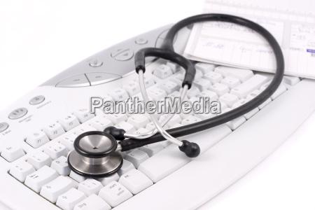 stethoscope, on, computer, keyboard - 795205