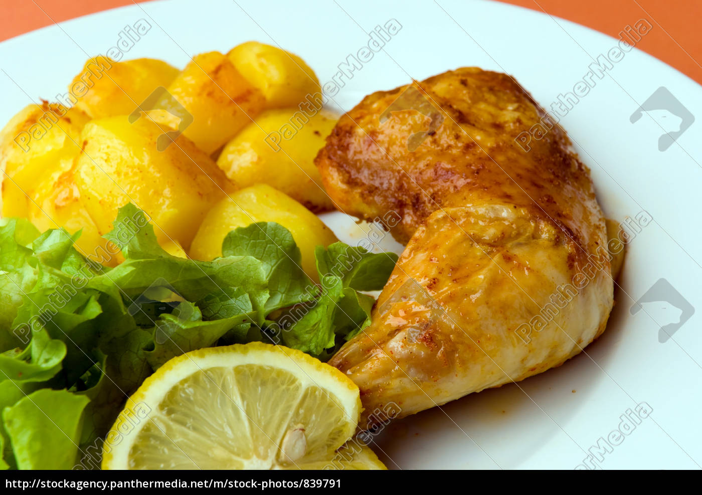 fried, chicken, leg, with, salad - 839791