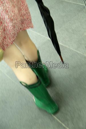 woman in rain boots