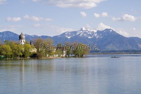 chiemsee before alpine scenery