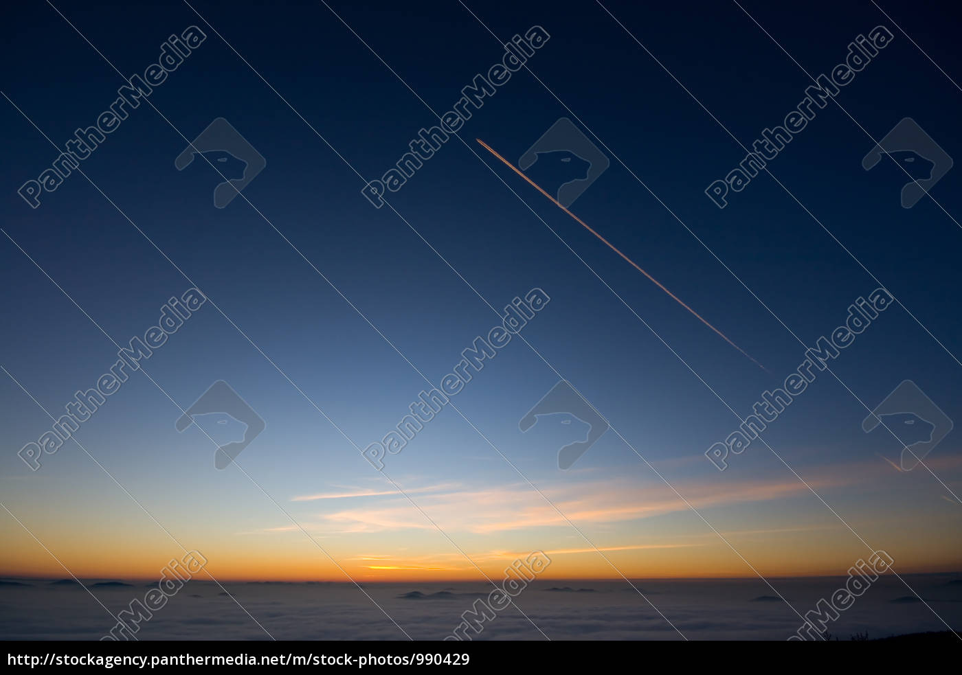 kondesstreifen, evening, sky - 990429
