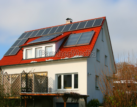 solar cell on house roof