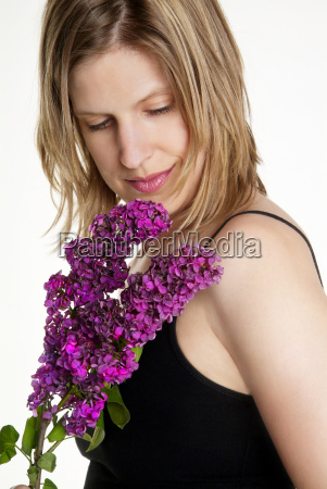 woman and lilac