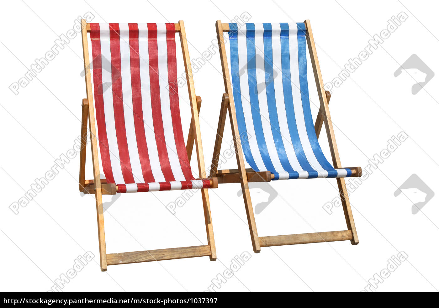 two, colorful, deckchairs. - 1037397