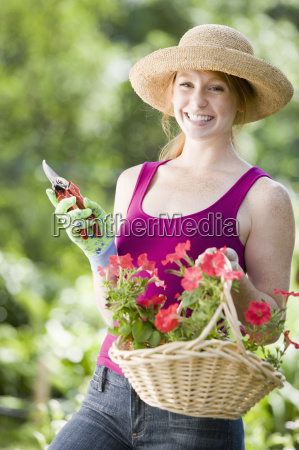 smiling pretty woman gardener