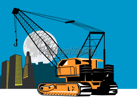 crane with building and moon in