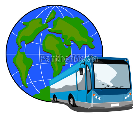 bus with globe in the background