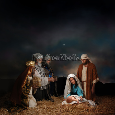 christmas nativity with three wise