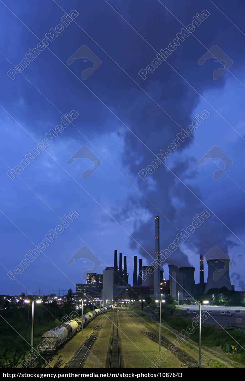 braunkohlenkraftwerk, neurath, at, night - 1087643
