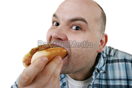 man with hot dog
