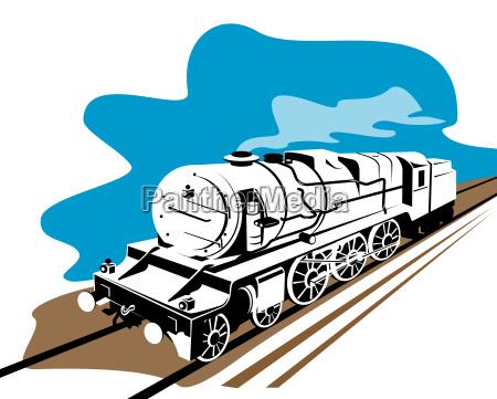 vintage, steam, train, on, white - 1108451