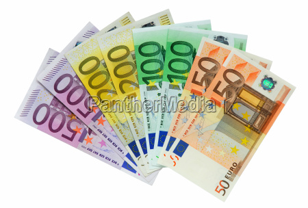 euro banknotes isolated on white hi