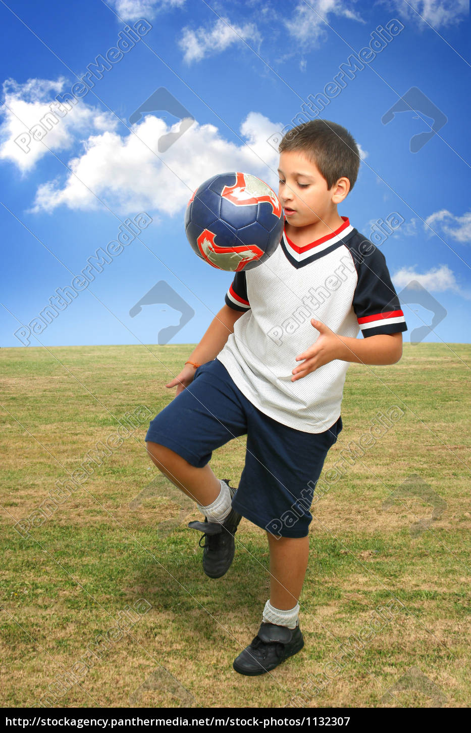 kid, playing, soccer, outside, - 1132307