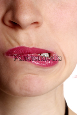 woman warped mouth