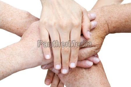 superimposed six hands