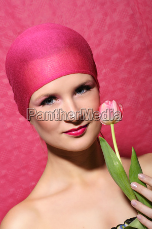 beauty portrait with flower
