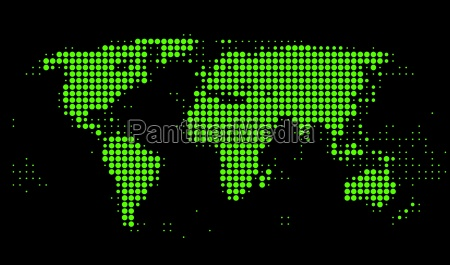 world map of green dots
