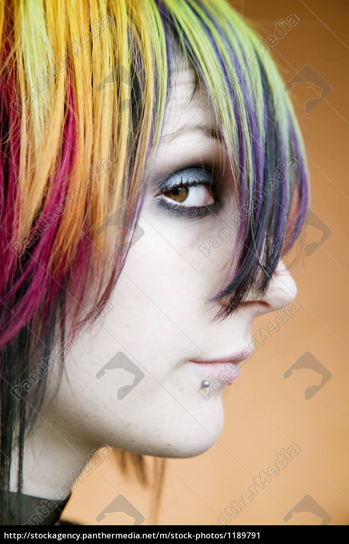 alternative, girl, with, multi-colred, hair, - 1189791