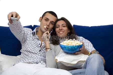 couple, watching, tv, , isolated, on, white - 1200015