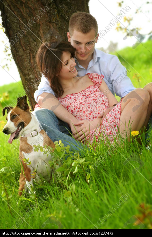 happy, couple, with, dog - 1237473