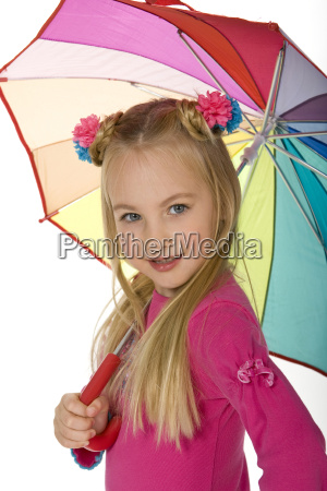 beauitful little blond with umbrella