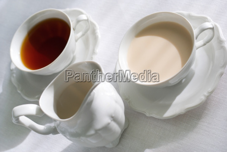 two cups of tea and milk