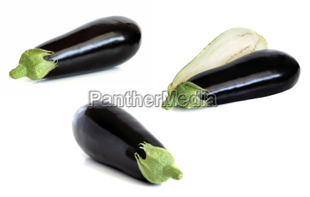 three variation aubergine isolated on wh
