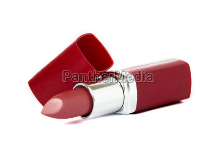 red lipstick on white background
