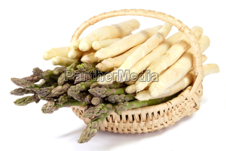 basket with white and green asparagus