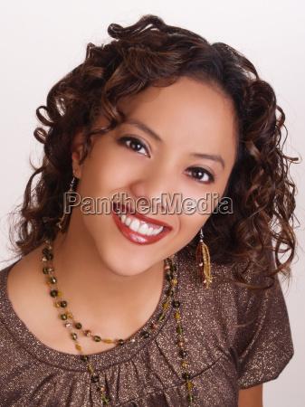young, hispanic, woman, portrait, big, smile - 1292403