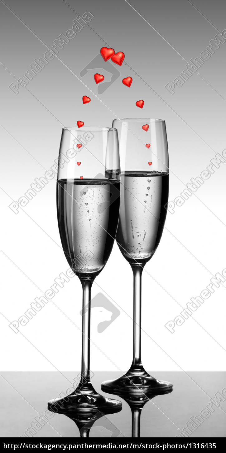 champagne, with, hearts - 1316435