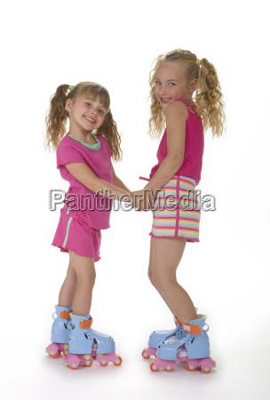 cute, roller, skate, girls - 1319929