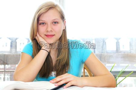 happy, teenage, girl, studying - 1321777