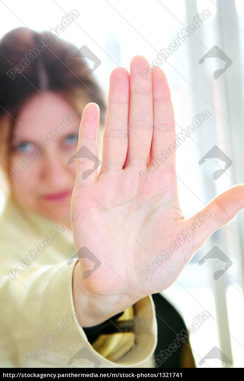 mature, woman, gesturing, stop - 1321741
