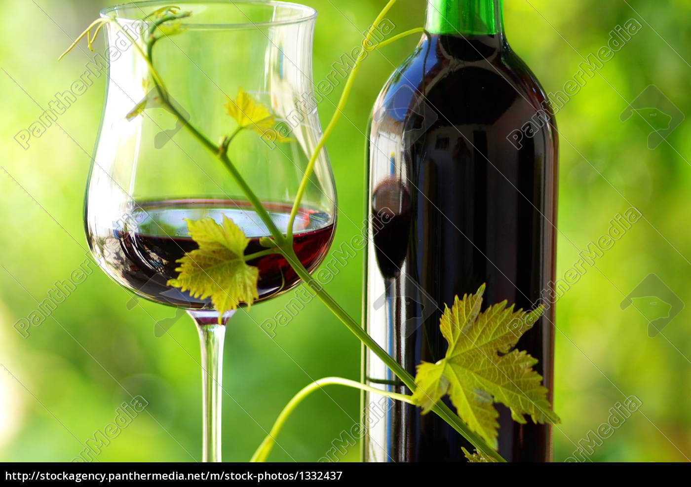 glass, and, bottle, of, red, wine - 1332437