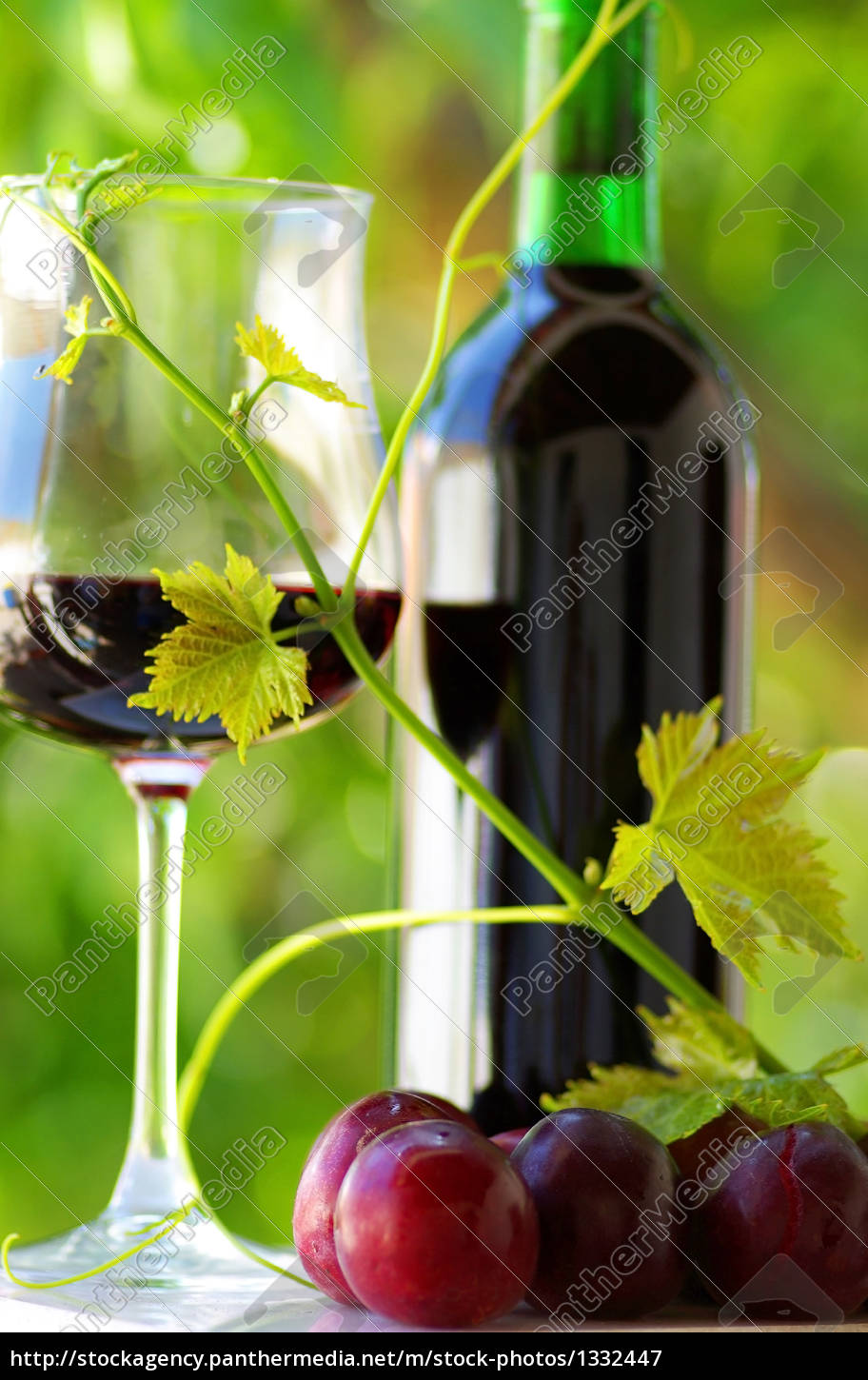 glass, and, bottle, of, red, wine - 1332447